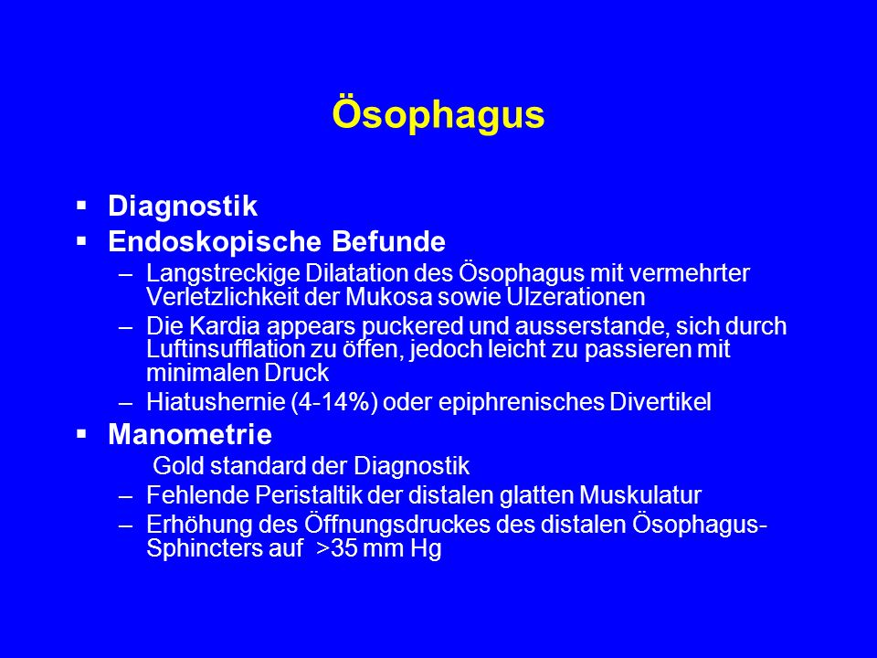 Ösophagus Diagnostik Endoskopische Befunde Manometrie