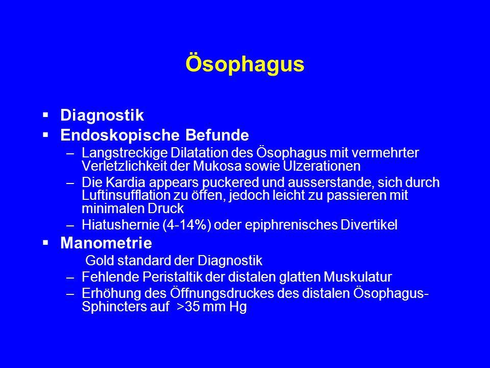 Ösophagus Diagnostik Endoskopische Befunde Manometrie