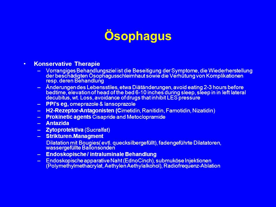 Ösophagus Konservative Therapie
