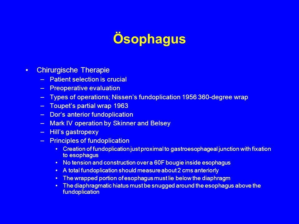 Ösophagus Chirurgische Therapie Patient selection is crucial