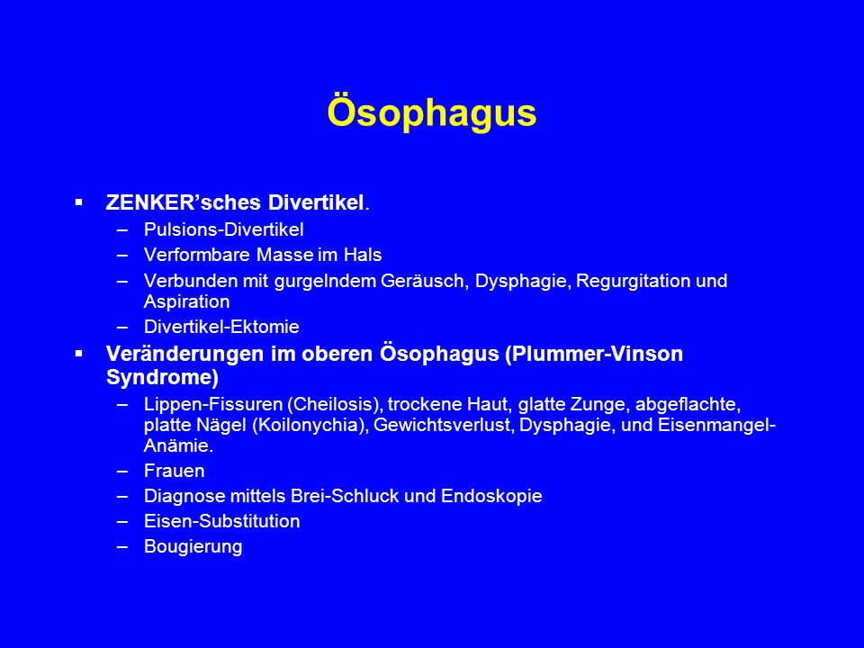 Ösophagus ZENKER'sches Divertikel.