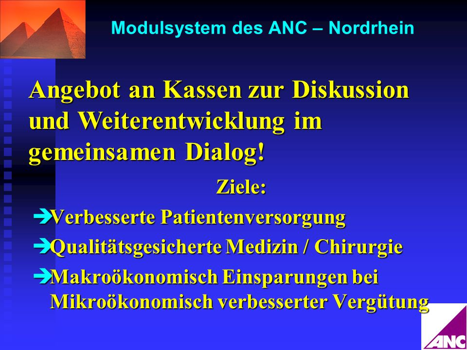 Modulsystem des ANC – Nordrhein