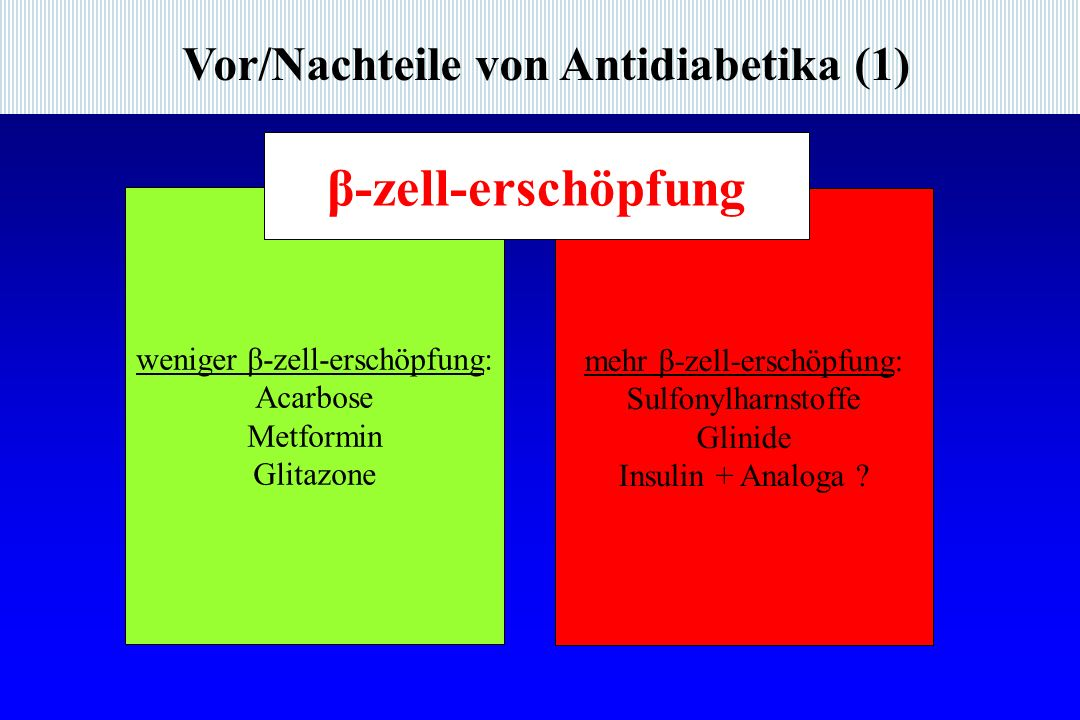 β-zell-erschöpfung Vor/Nachteile von Antidiabetika (1)
