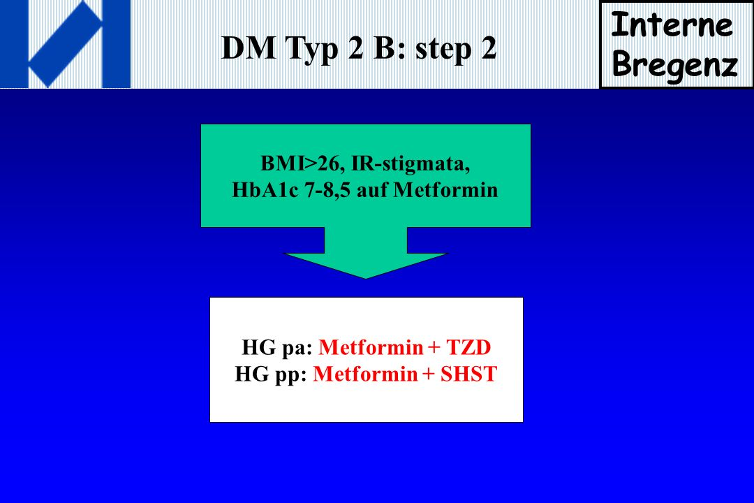 Interne Bregenz DM Typ 2 B: step 2 BMI>26, IR-stigmata,