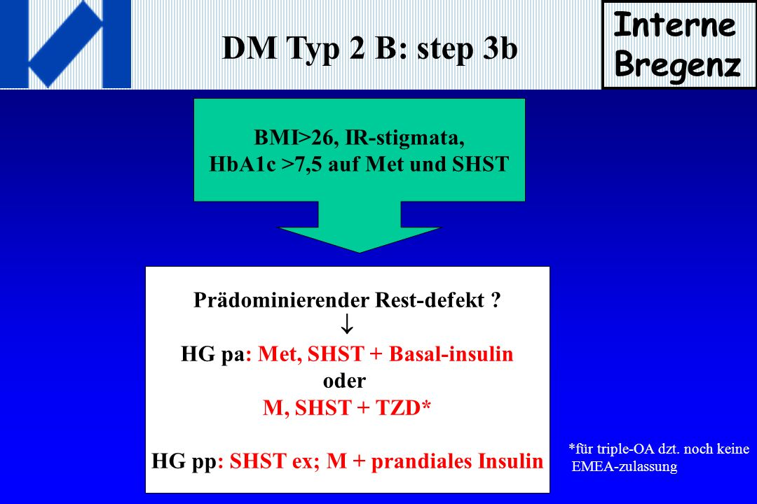 Interne Bregenz DM Typ 2 B: step 3b BMI>26, IR-stigmata,