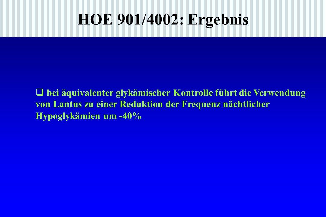 HOE 901/4002: Ergebnis bei äquivalenter glykämischer Kontrolle führt die Verwendung.