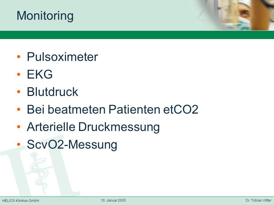 Bei beatmeten Patienten etCO2 Arterielle Druckmessung ScvO2-Messung