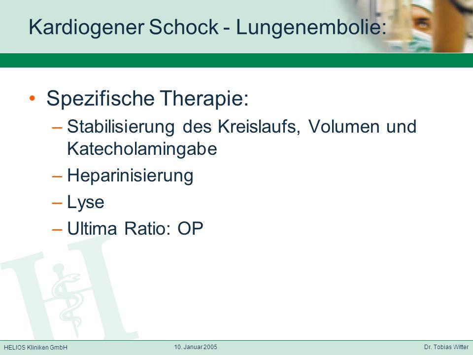 Kardiogener Schock - Lungenembolie: