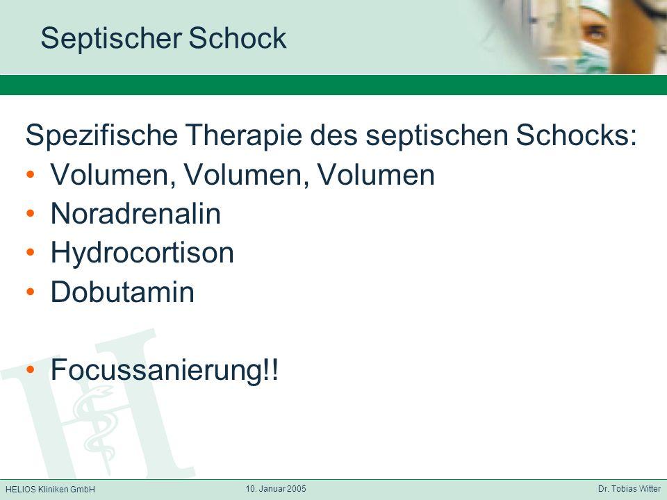 Spezifische Therapie des septischen Schocks: Volumen, Volumen, Volumen