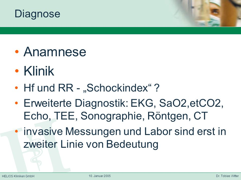 """Anamnese Klinik Diagnose Hf und RR - """"Schockindex"""