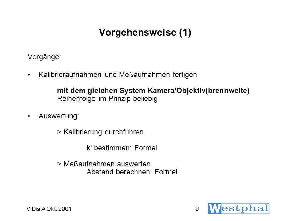 Kalibriervorgang (1) ViDistA Okt. 2001