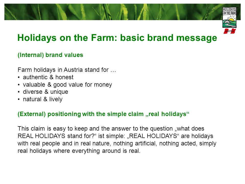 Holidays on the Farm: basic brand message