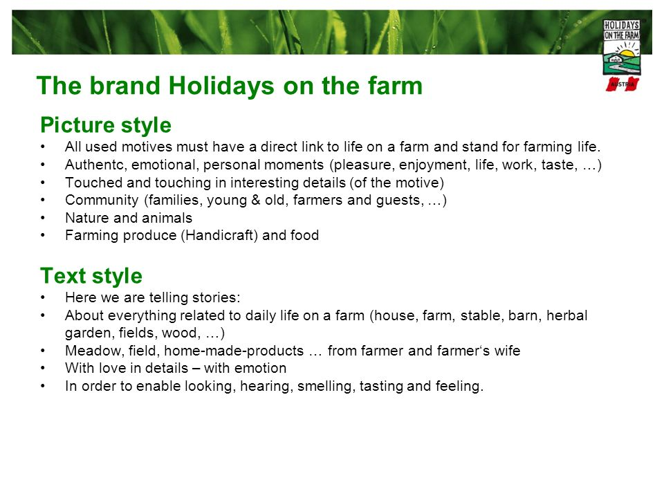 The brand Holidays on the farm