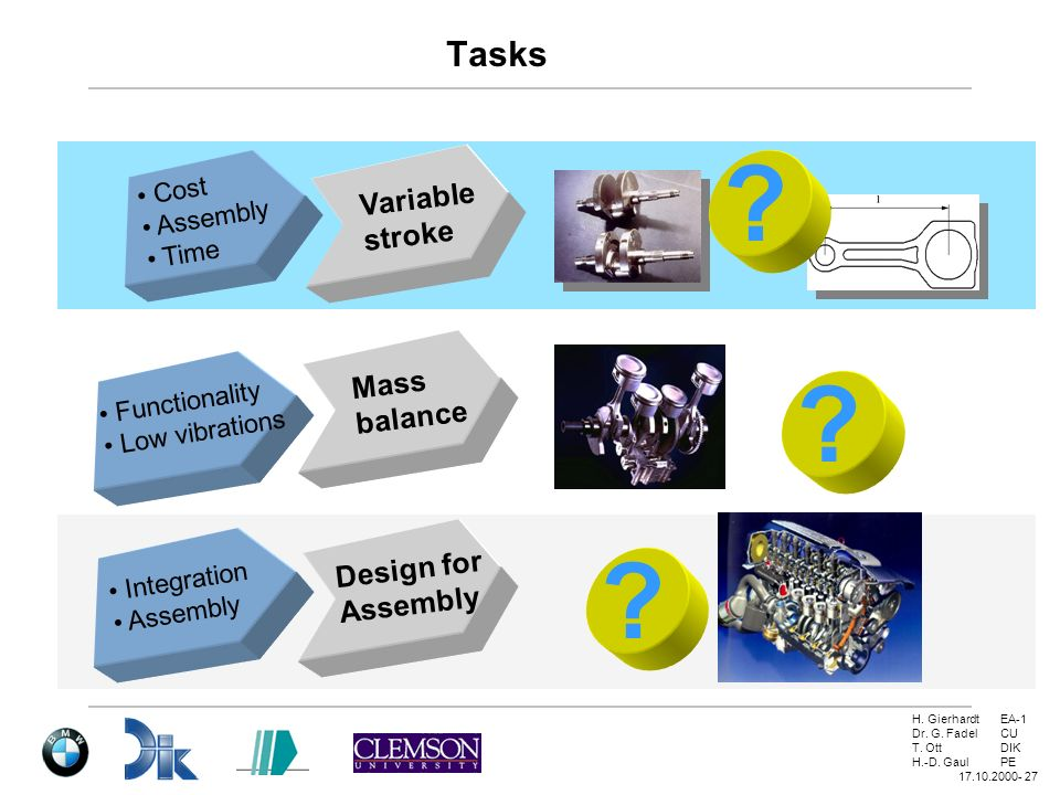 Tasks Variable stroke Mass balance Design for Cost Assembly Time