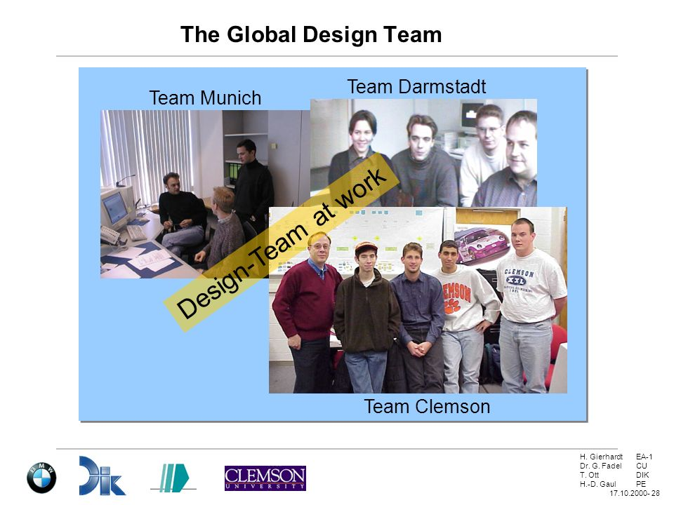 Design-Team at work The Global Design Team Team Darmstadt Team Munich