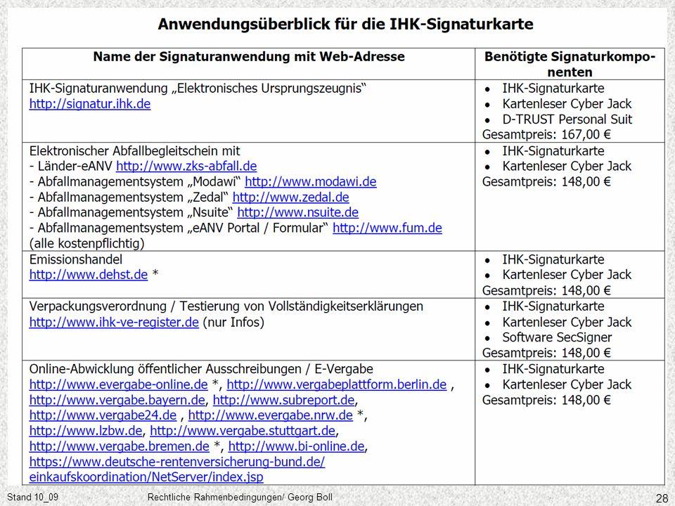 Stand 10_09 Rechtliche Rahmenbedingungen/ Georg Boll