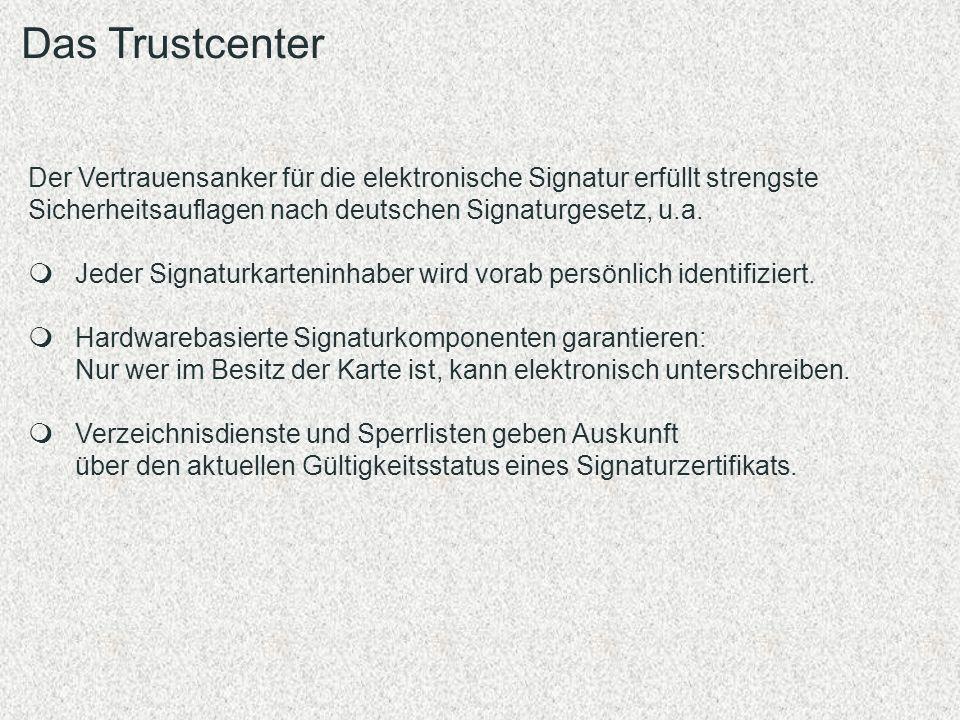 Das Trustcenter Der Vertrauensanker für die elektronische Signatur erfüllt strengste Sicherheitsauflagen nach deutschen Signaturgesetz, u.a.