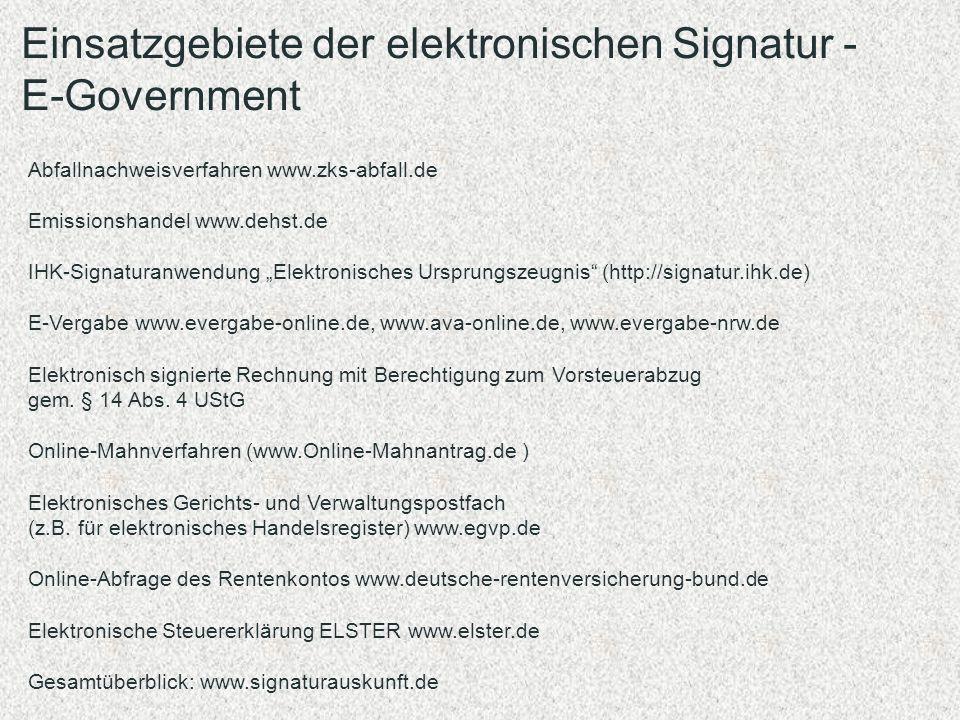Einsatzgebiete der elektronischen Signatur - E-Government