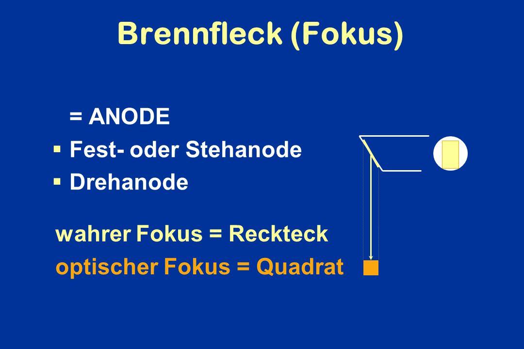 Brennfleck (Fokus) = ANODE Fest- oder Stehanode Drehanode