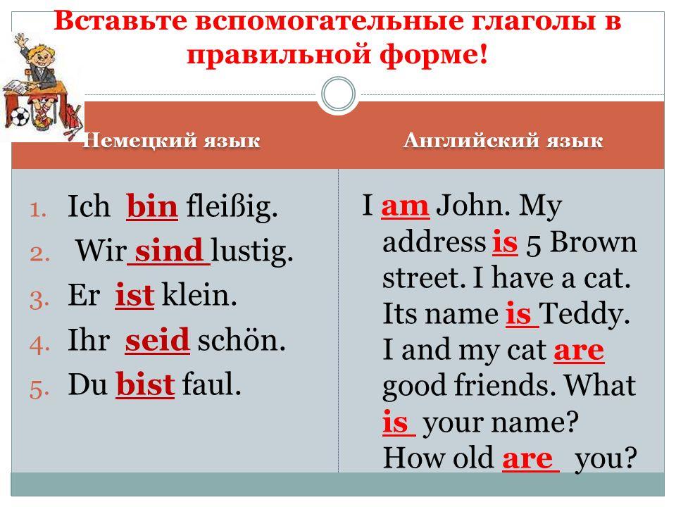 Вставьте вспомогательные глаголы в правильной форме!