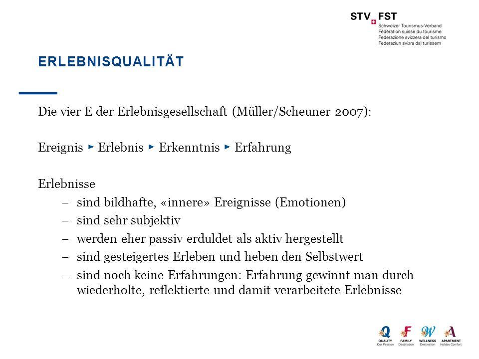 Erlebnisqualität Die vier E der Erlebnisgesellschaft (Müller/Scheuner 2007): Ereignis ► Erlebnis ► Erkenntnis ► Erfahrung.