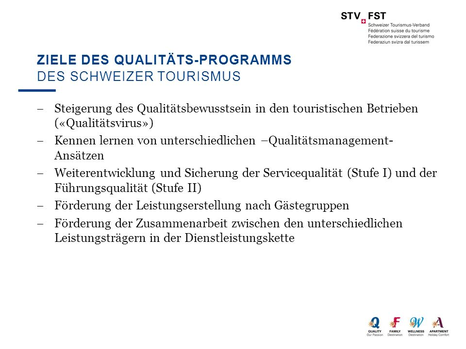 Ziele des Qualitäts-Programms