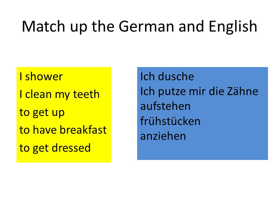 Match up the German and English