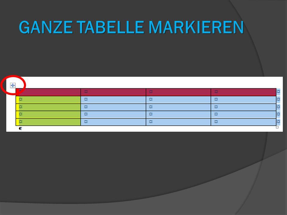 Ganze Tabelle markieren