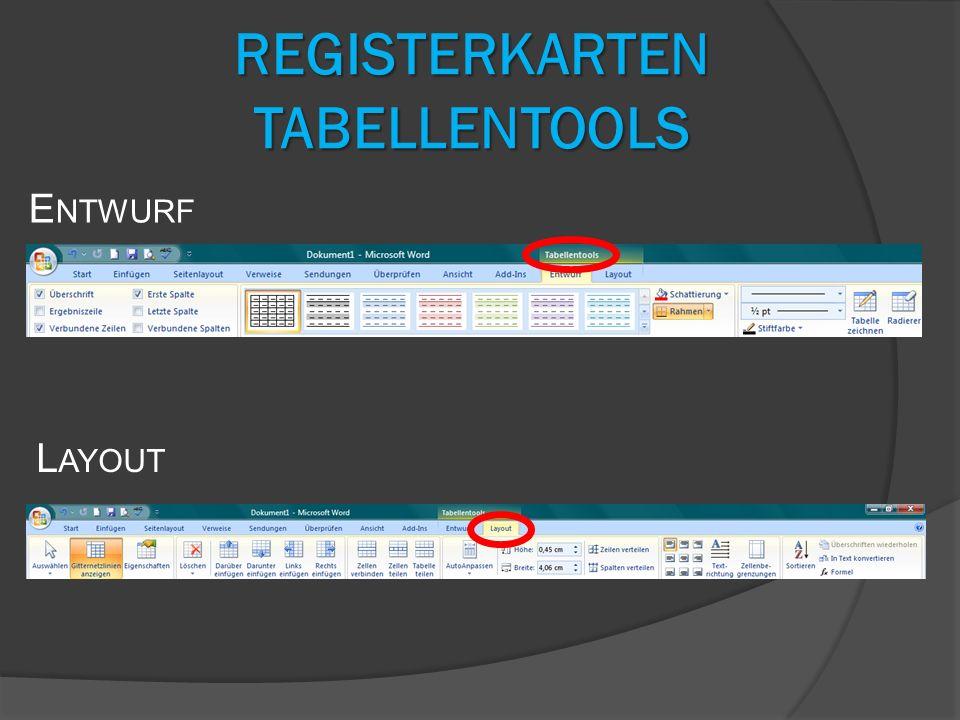 Registerkarten Tabellentools