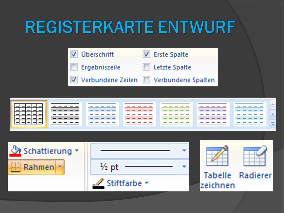 Registerkarte Entwurf