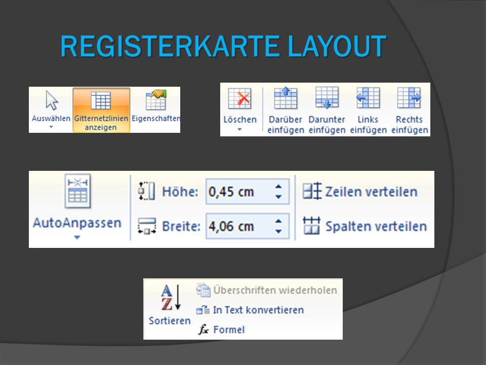 Registerkarte LAYOUT