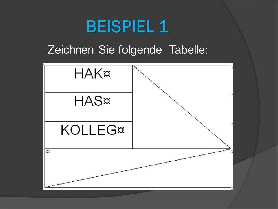 Zeichnen Sie folgende Tabelle: