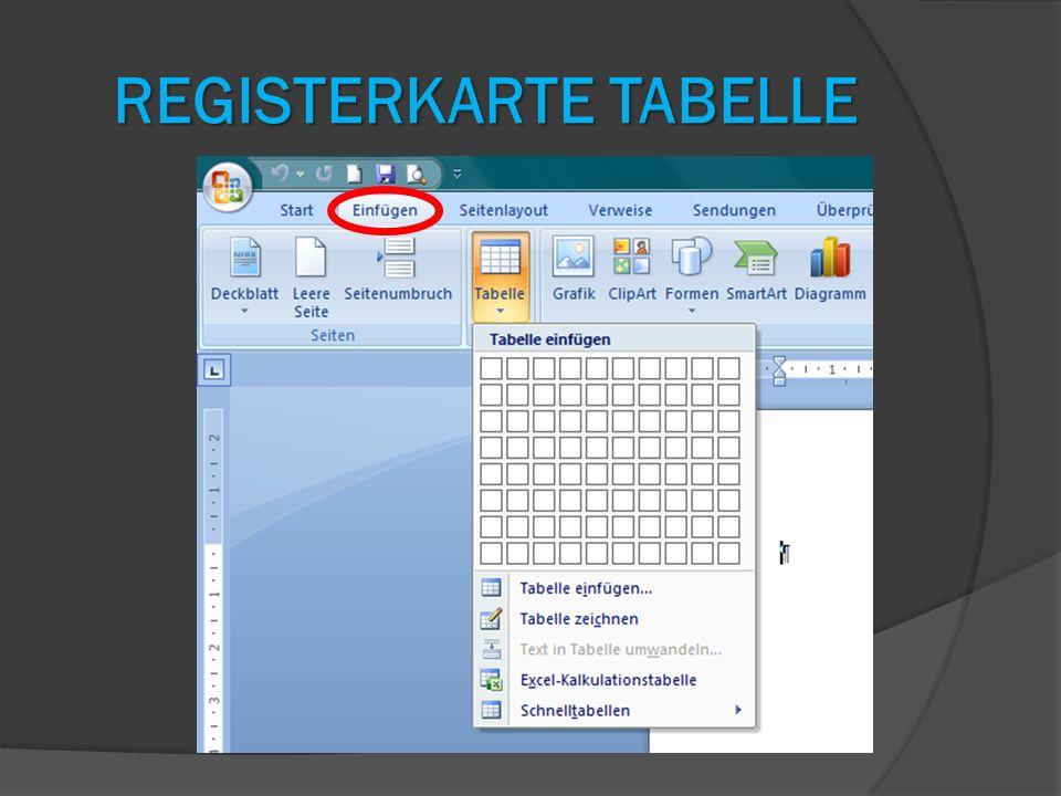 Registerkarte Tabelle