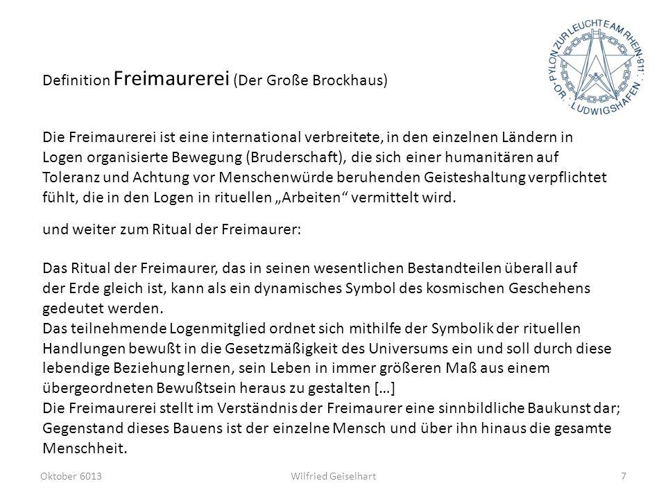 Definition Freimaurerei (Der Große Brockhaus)