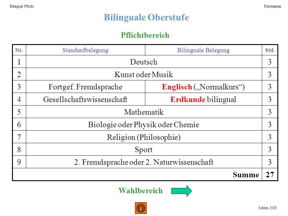 Bilinguale Oberstufe Pflichtbereich 1 Deutsch 3 2 Kunst oder Musik