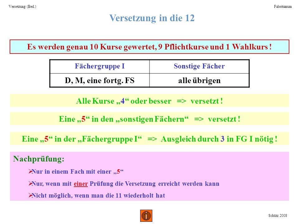 Versetzung (Bed.) Fabritianum. Versetzung in die 12. Es werden genau 10 Kurse gewertet, 9 Pflichtkurse und 1 Wahlkurs !