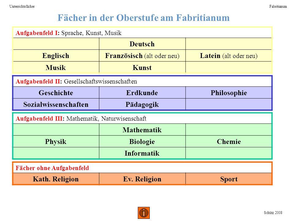 Fächer in der Oberstufe am Fabritianum Sozialwissenschaften