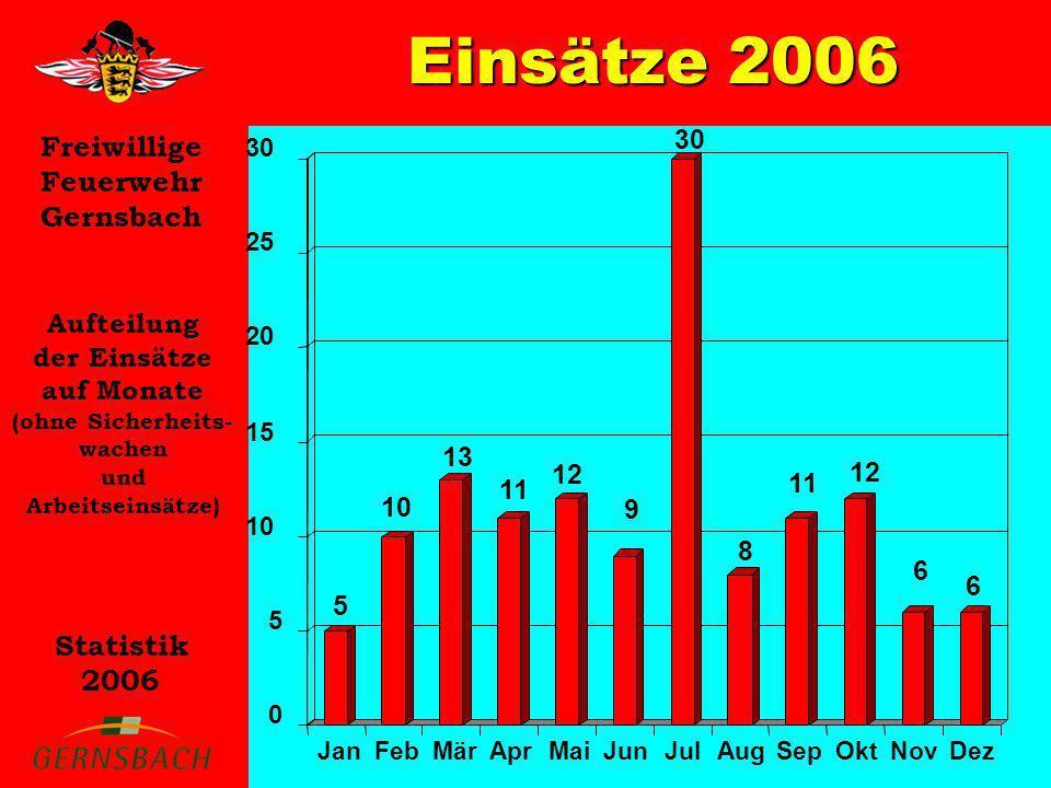 Einsätze 2006 30 Aufteilung der Einsätze auf Monate 13 12 12 11 11 10