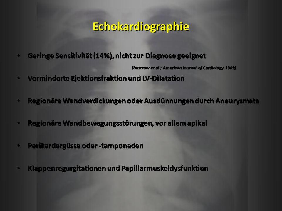 Echokardiographie Geringe Sensitivität (14%), nicht zur Diagnose geeignet. (Bustrow et al.; American Journal of Cardiology 1989)