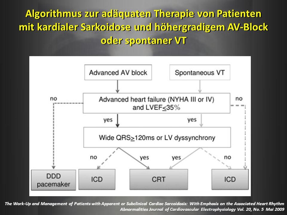 Algorithmus zur adäquaten Therapie von Patienten mit kardialer Sarkoidose und höhergradigem AV-Block oder spontaner VT