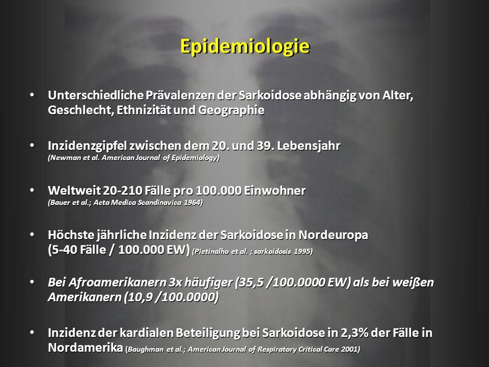 Epidemiologie Unterschiedliche Prävalenzen der Sarkoidose abhängig von Alter, Geschlecht, Ethnizität und Geographie.