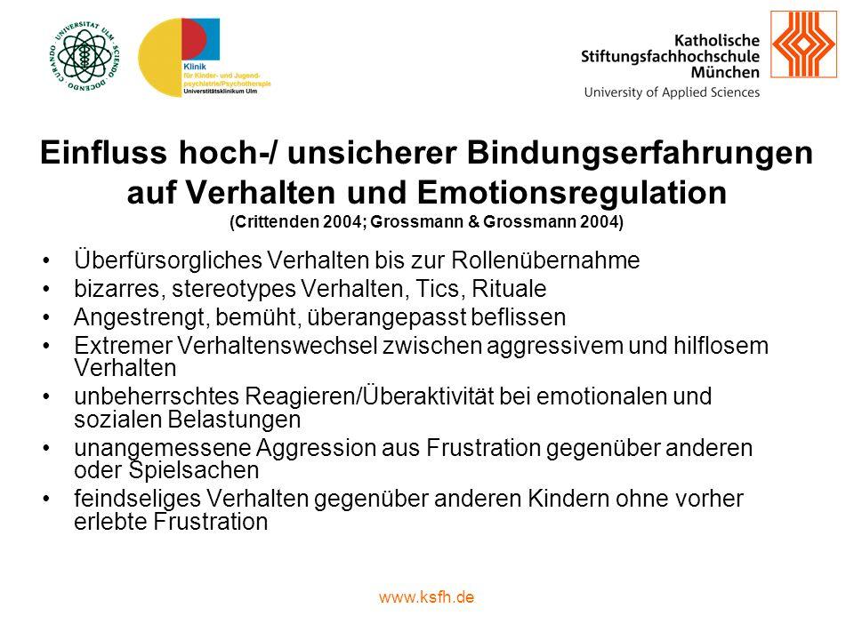 Einfluss hoch-/ unsicherer Bindungserfahrungen auf Verhalten und Emotionsregulation (Crittenden 2004; Grossmann & Grossmann 2004)