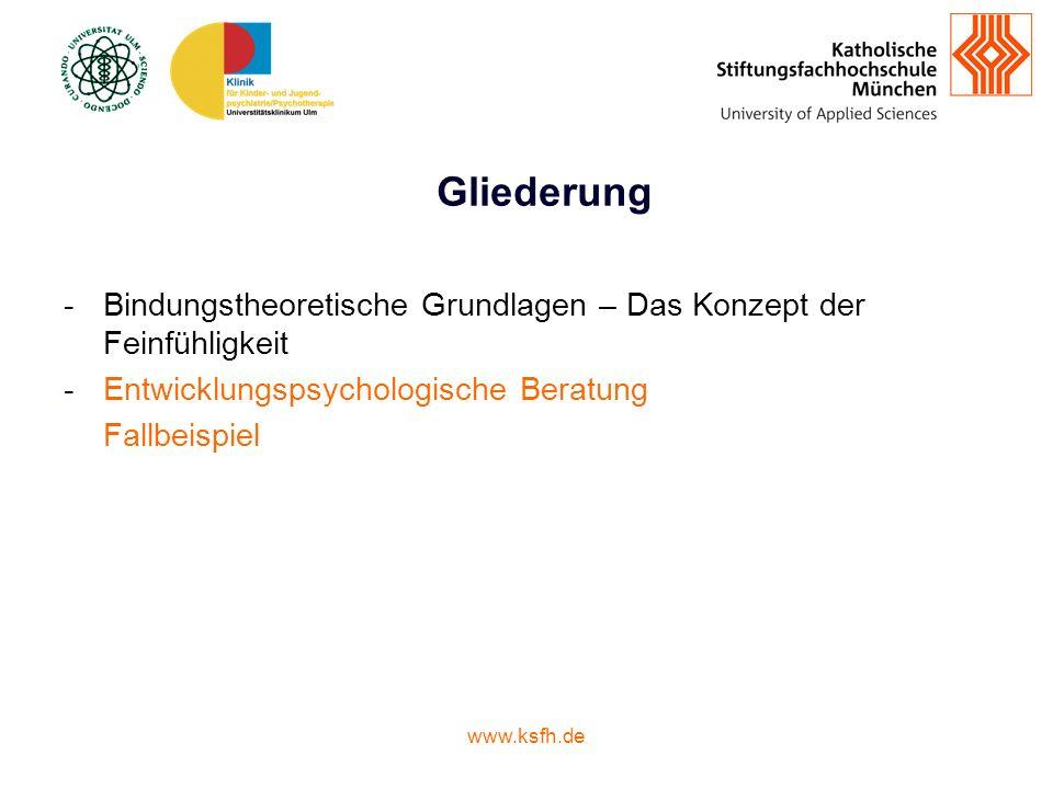 Gliederung Bindungstheoretische Grundlagen – Das Konzept der Feinfühligkeit. Entwicklungspsychologische Beratung.
