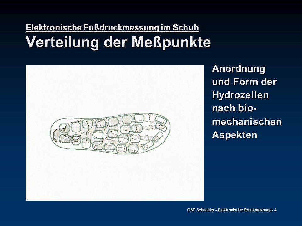 Elektronische Fußdruckmessung im Schuh Verteilung der Meßpunkte