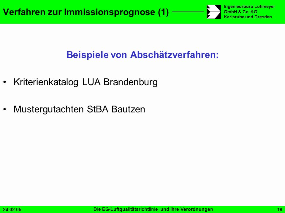 Verfahren zur Immissionsprognose (1)