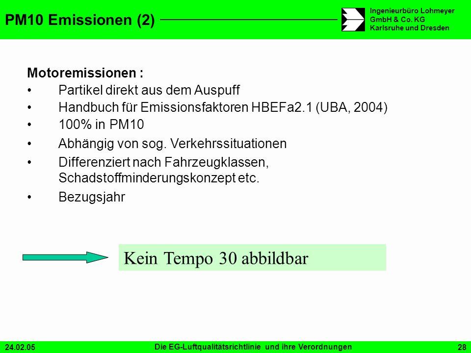 Kein Tempo 30 abbildbar PM10 Emissionen (2) Motoremissionen :