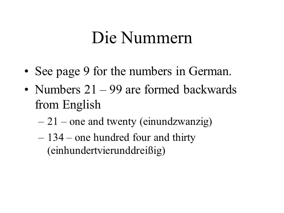 Die Nummern See page 9 for the numbers in German.