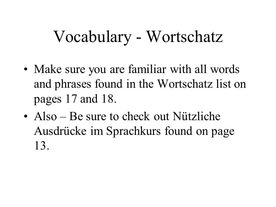 Vocabulary - Wortschatz