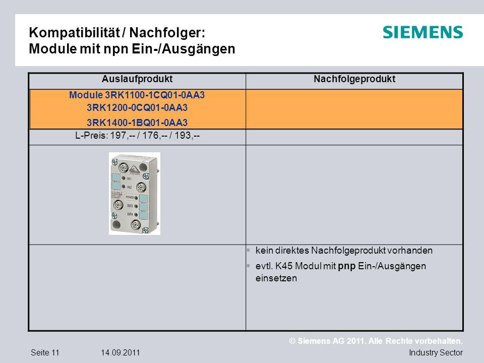 Kompatibilität / Nachfolger: Module mit npn Ein-/Ausgängen
