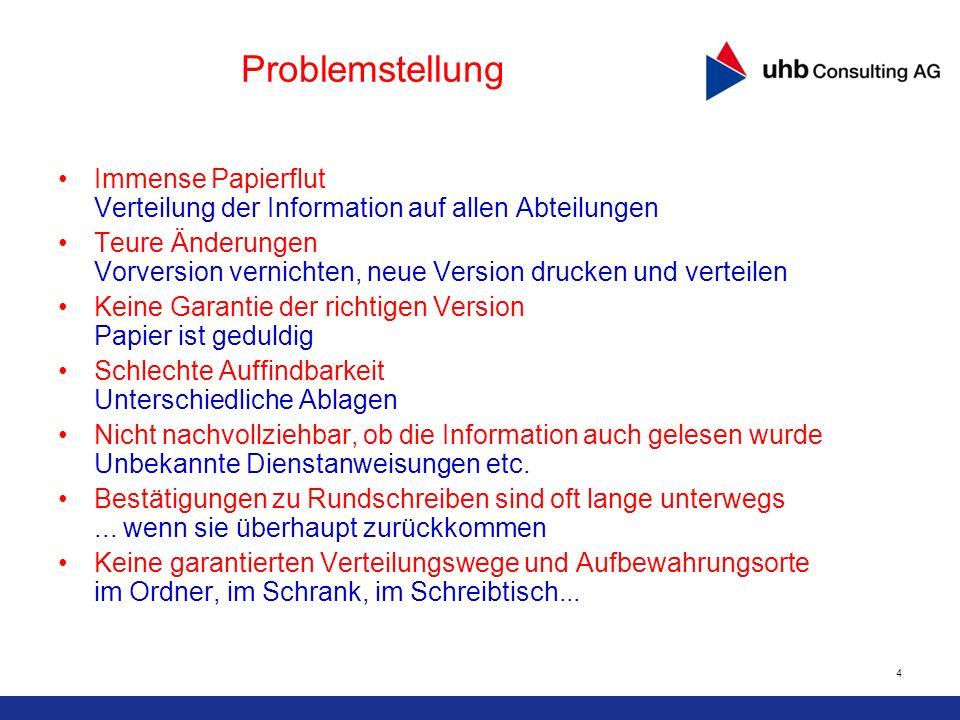 Problemstellung Immense Papierflut Verteilung der Information auf allen Abteilungen.